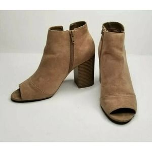 Apt 9 Taupe Heel Ankle Bootie Open Toe Faux Suede